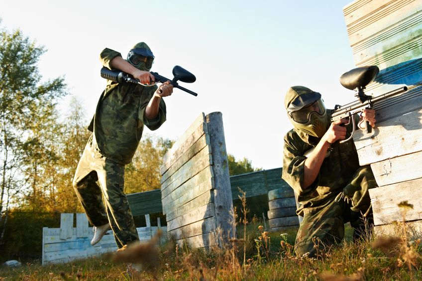 Playing paintball in comfortable weather